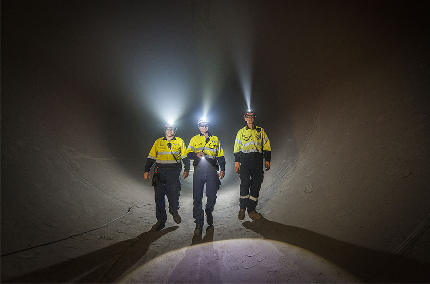 Workers in tunnel